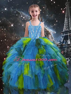 Cute Baby Blue Sleeveless Tulle Lace Up Little Girls Pageant Gowns for Quinceanera and Wedding Party