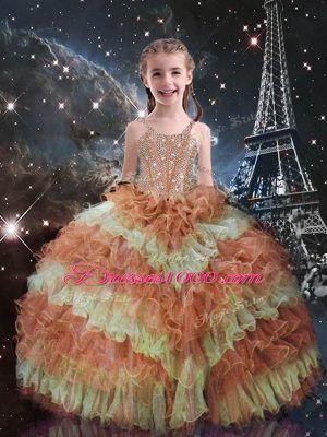 High Quality Orange Red Straps Neckline Beading and Ruffled Layers Little Girls Pageant Gowns Sleeveless Lace Up