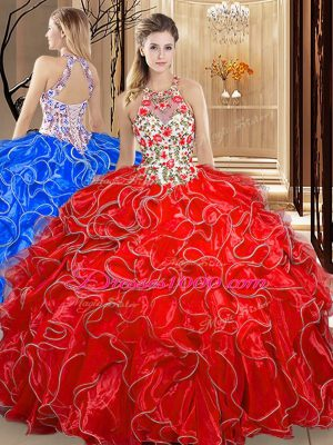 High End Coral Red Scoop Backless Embroidery and Ruffles Sweet 16 Quinceanera Dress Sleeveless