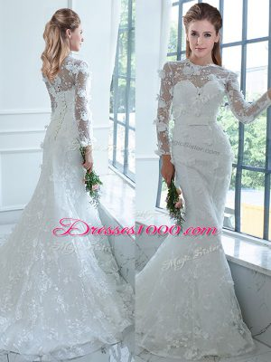 Charming Long Sleeves Brush Train Lace Up Lace Wedding Dresses