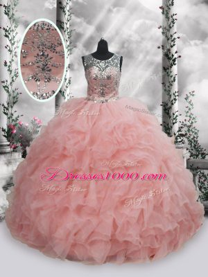 Super Floor Length Lace Up Sweet 16 Quinceanera Dress Baby Pink for Military Ball and Sweet 16 and Quinceanera with Beading and Ruffles