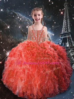 Fashionable Coral Red Sleeveless Floor Length Beading and Ruffles Lace Up Little Girls Pageant Gowns