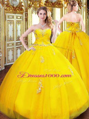 Flirting Floor Length Ball Gowns Sleeveless Gold Vestidos de Quinceanera Lace Up