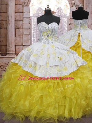Yellow And White Ball Gowns Beading and Appliques and Ruffles Ball Gown Prom Dress Lace Up Organza Sleeveless