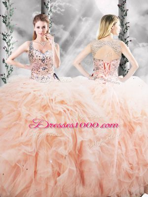 New Arrival Peach Quinceanera Gowns Military Ball and Sweet 16 and Quinceanera with Beading and Ruffles Straps Sleeveless Lace Up