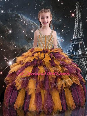 Excellent Sleeveless Beading and Ruffles Lace Up Little Girls Pageant Gowns