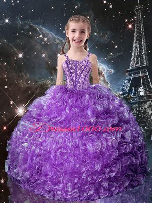 Eggplant Purple Straps Lace Up Beading and Ruffles Kids Pageant Dress Sleeveless