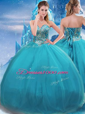 Decent Teal Ball Gowns Appliques Vestidos de Quinceanera Lace Up Tulle Sleeveless Floor Length
