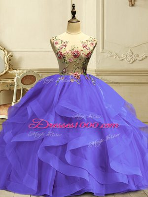 Lavender Ball Gowns Organza Scoop Sleeveless Appliques and Ruffles Floor Length Lace Up 15 Quinceanera Dress