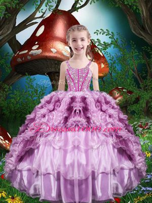 Floor Length Lilac Kids Pageant Dress Organza Sleeveless Beading and Ruffles and Ruffled Layers