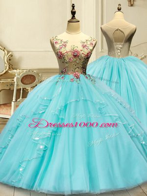 Romantic Sleeveless Tulle Floor Length Lace Up Vestidos de Quinceanera in Aqua Blue with Appliques
