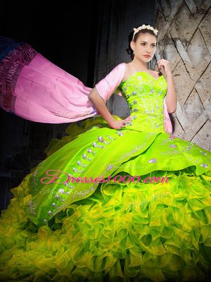 Custom Made Yellow Green Sleeveless Organza Brush Train Lace Up 15 Quinceanera Dress for Military Ball and Sweet 16 and Quinceanera