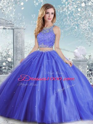 Blue Clasp Handle Sweet 16 Dresses Beading and Sequins Sleeveless Floor Length