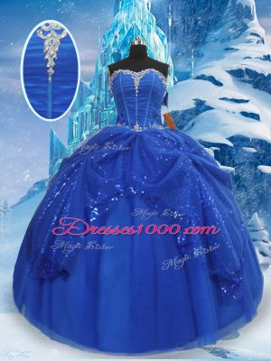 Affordable Sweetheart Sleeveless Ball Gown Prom Dress Floor Length Beading and Pick Ups Royal Blue Tulle
