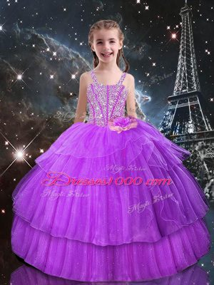 Adorable Beading and Ruffled Layers Kids Pageant Dress Lilac Lace Up Sleeveless Floor Length