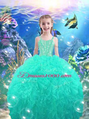 Ball Gowns Kids Formal Wear Turquoise Straps Organza Sleeveless Floor Length Lace Up