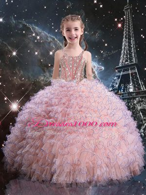 Pink Ball Gowns Organza Straps Short Sleeves Beading and Ruffles Floor Length Lace Up Little Girl Pageant Dress