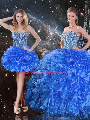 Fashionable Sweetheart Sleeveless Sweet 16 Quinceanera Dress Floor Length Beading and Ruffles Royal Blue Organza