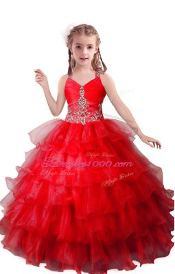 V-neck Sleeveless Organza Girls Pageant Dresses Beading and Ruffled Layers Zipper