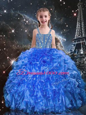 Floor Length Lace Up Girls Pageant Dresses Blue for Quinceanera and Wedding Party with Beading and Ruffles