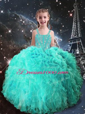Super Turquoise Lace Up Kids Formal Wear Beading and Ruffles Sleeveless Floor Length