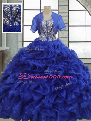 Short Sleeves Floor Length Ruffles Lace Up Quinceanera Dresses with Royal Blue
