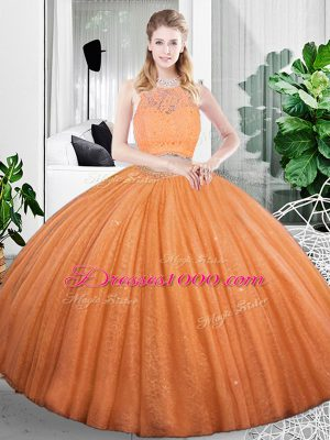 Flirting Floor Length Zipper Sweet 16 Dress Orange for Military Ball and Sweet 16 and Quinceanera with Lace and Ruching