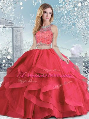 Fashion Coral Red Clasp Handle Scoop Beading and Ruffles Sweet 16 Quinceanera Dress Organza Sleeveless