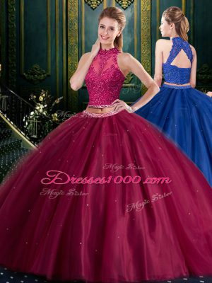 Low Price Halter Top Sleeveless Tulle Floor Length Lace Up Quinceanera Gowns in Burgundy with Appliques