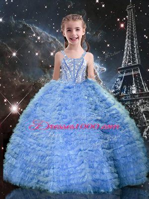 Unique Sleeveless Beading and Ruffled Layers Lace Up Little Girl Pageant Dress