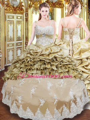 Shining Champagne Straps Neckline Beading and Appliques and Ruffled Layers and Pick Ups Sweet 16 Dresses Sleeveless Lace Up