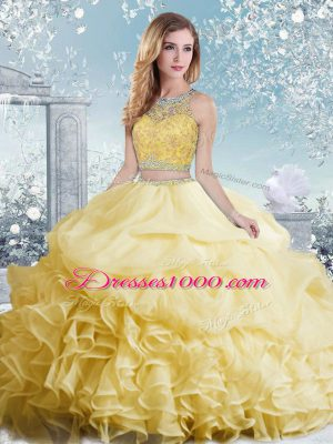 Simple Bateau Sleeveless Organza 15 Quinceanera Dress Beading and Ruffles and Pick Ups Clasp Handle
