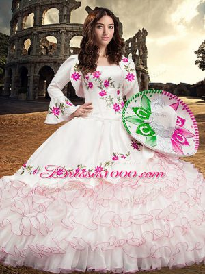 White Organza Lace Up Square Long Sleeves Floor Length Quinceanera Dress Embroidery and Ruffled Layers