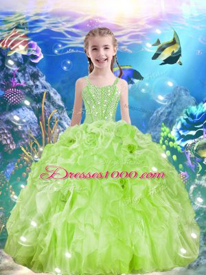 Perfect Beading and Ruffles Little Girl Pageant Dress Yellow Green Lace Up Sleeveless Floor Length