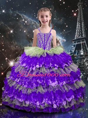 Graceful Sleeveless Floor Length Beading and Ruffled Layers Lace Up Child Pageant Dress with Multi-color