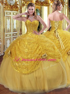 New Arrival Floor Length Gold 15th Birthday Dress Sweetheart Sleeveless Lace Up