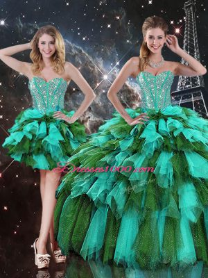Custom Fit Ball Gowns 15 Quinceanera Dress Multi-color Sweetheart Organza Sleeveless Floor Length Lace Up