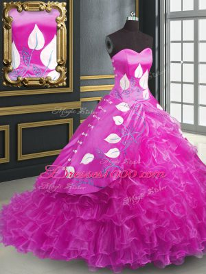 Organza Sweetheart Sleeveless Brush Train Lace Up Embroidery and Ruffles Quinceanera Dresses in Fuchsia