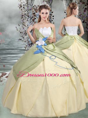 Multi-color Taffeta Lace Up 15th Birthday Dress Sleeveless Floor Length Ruching and Hand Made Flower
