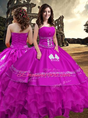 Fuchsia Vestidos de Quinceanera Military Ball and Sweet 16 and Quinceanera with Embroidery and Ruffled Layers Strapless Sleeveless Zipper