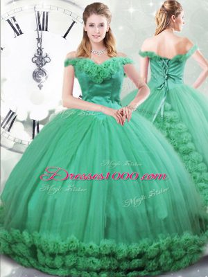 Turquoise Sleeveless Brush Train Hand Made Flower Quinceanera Gowns