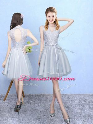 Wonderful Silver V-neck Lace Up Lace Bridesmaid Dresses Sleeveless