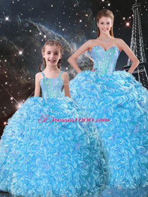 Custom Made Ball Gowns Sweet 16 Quinceanera Dress Baby Blue Sweetheart Organza Sleeveless Floor Length Lace Up