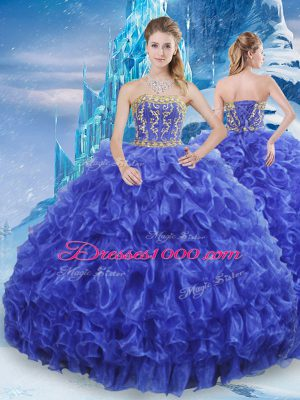 Deluxe Royal Blue Ball Gowns Beading and Appliques and Ruffles Quinceanera Gowns Lace Up Organza Sleeveless Floor Length