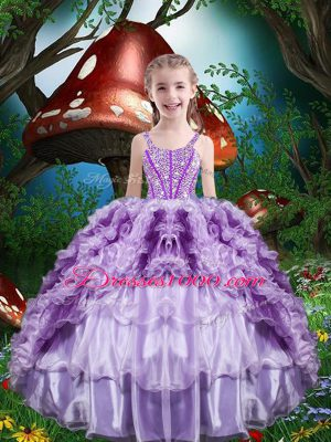 Hot Selling Floor Length Lace Up Little Girl Pageant Dress Lavender for Quinceanera and Wedding Party with Beading and Ruffles and Ruffled Layers
