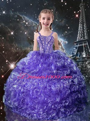 Perfect Floor Length Lace Up Kids Formal Wear Purple for Quinceanera and Wedding Party with Beading and Ruffles