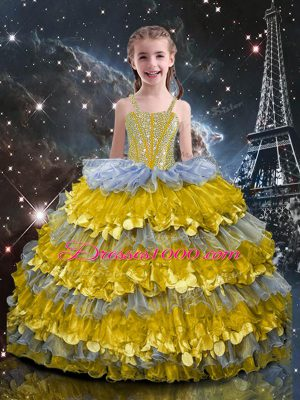 Fashion Multi-color Lace Up Little Girls Pageant Dress Wholesale Beading and Ruffled Layers Sleeveless Floor Length
