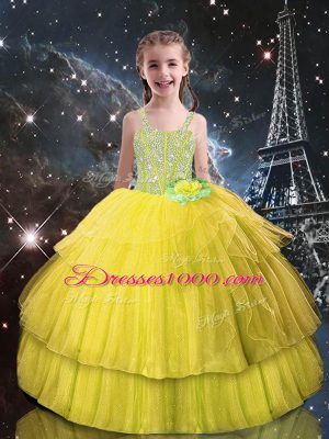 Light Yellow Lace Up Little Girls Pageant Dress Beading and Ruffled Layers Sleeveless Floor Length