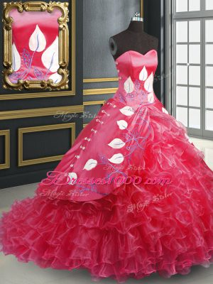 Sweetheart Sleeveless Brush Train Lace Up Quinceanera Dress Coral Red Organza