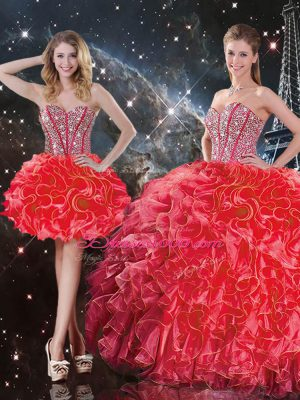 Sweetheart Sleeveless Quinceanera Gowns Floor Length Beading and Ruffles Coral Red Organza
